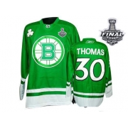 a101202f6 Boston Bruins Tim Thomas Green St Patty's Day Authentic with Stanley Cup  Finals Jersey